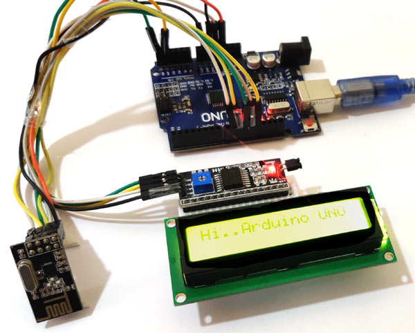 Внешний вид собранной схемы с платой Arduino