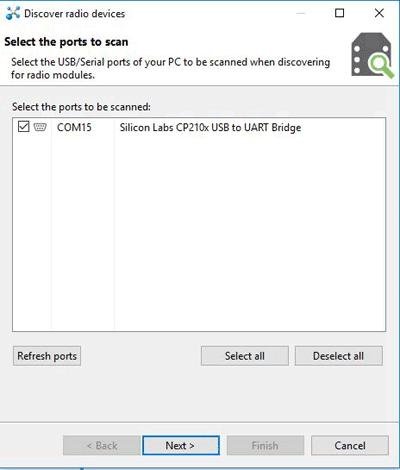 Выбор последовательного порта, к которому подключен USB адаптер