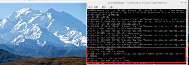 Распознавание библиотекой TensorFlow изображения Альп