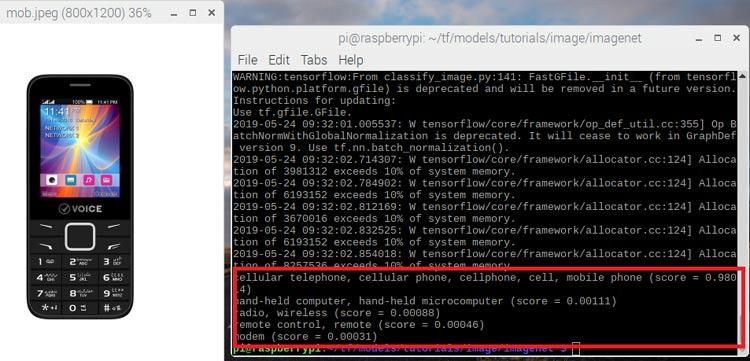 Распознавание библиотекой TensorFlow изображения мобильного телефона