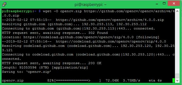 Процесс скачивания дистрибутива библиотеки OpenCV на плату Raspberry Pi