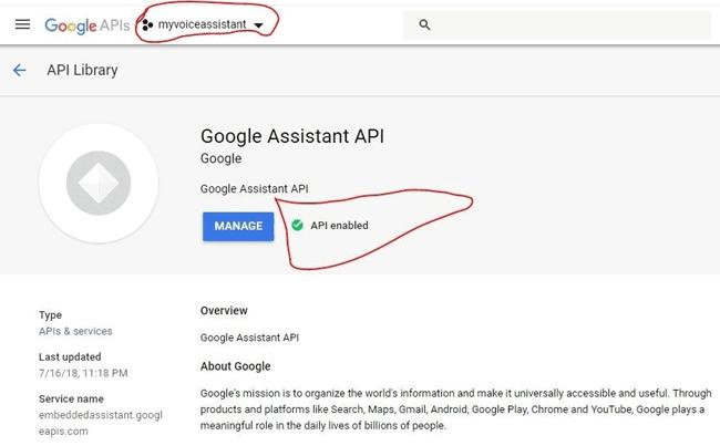 Подключение к проекту Google Assistant API