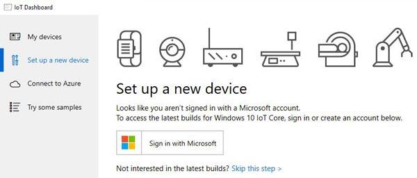Установка нового устройства в панели инструментов Windows 10 IoT core