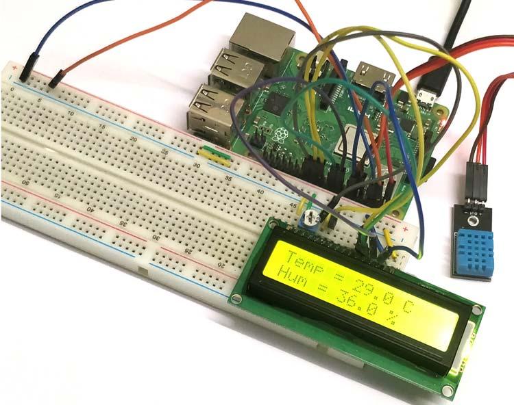 Внешний вид подключения датчика температуры и влажности DHT11 к Raspberry Pi