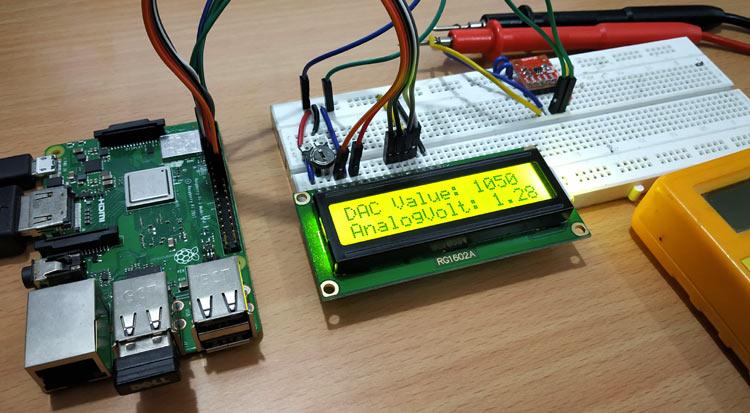 Внешний вид подключения модуля ЦАП MCP4725 к Raspberry Pi