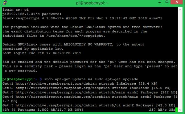 Процесс установки на плату Raspberry Pi последних обновлений