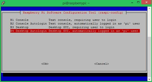 Выбор опции B4 Desktop Autologin Desktop GUI