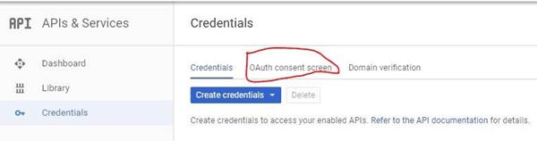 Вкладка OAuth consent screen вGoogle developers console