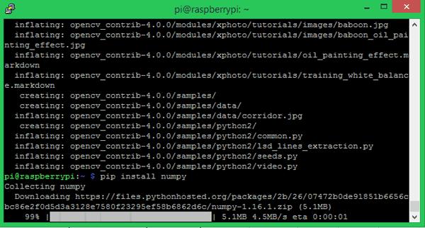 Процесс установки numpy на плату Raspberry Pi