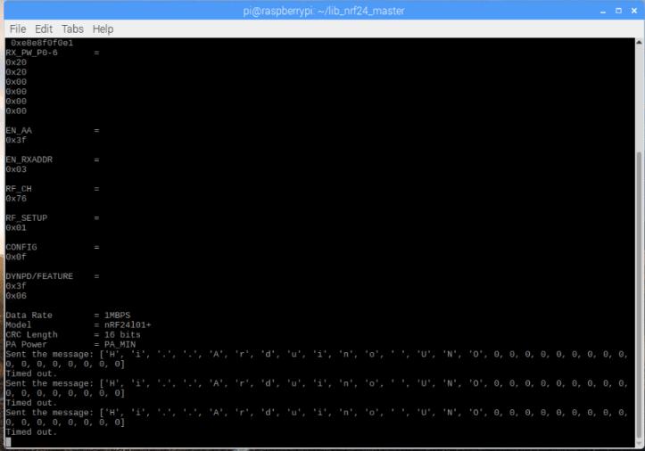 Результаты выполнения программы для платы Raspberry Pi