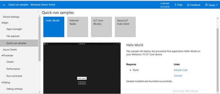 Тестовые примеры приложений в Windows 10 IoT