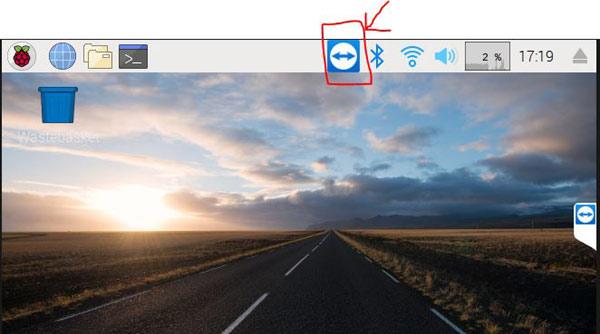 Иконка TeamViewer в панели задач платы Raspberry Pi