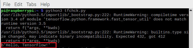 Пример успешной работы библиотеки TensorFlow