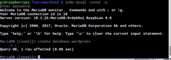 Успешное создание базы данных
