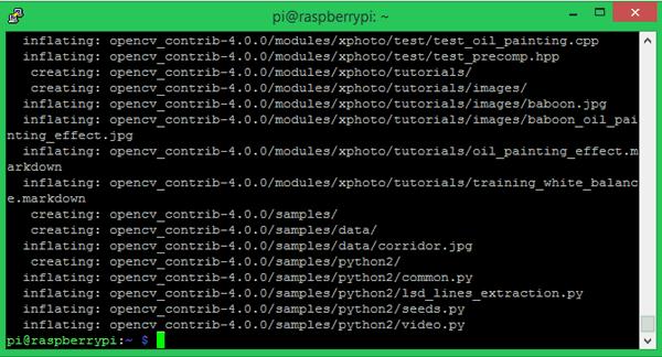 Процесс извлечения из архива файлов opencv_contrib-4.0.0