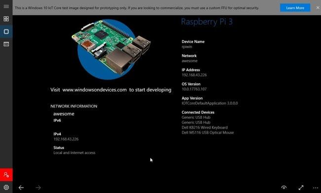 Домашняя страница Windows 10 IoT Core