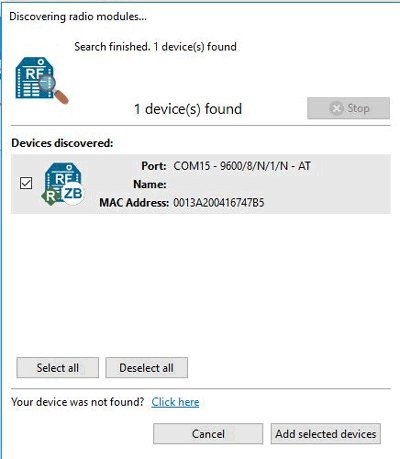 Добавление модуля XBee в панель инструментов XCTU