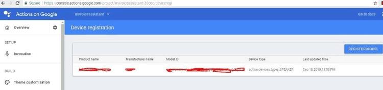 Завершение процесса регистрации устройства в Google Actions