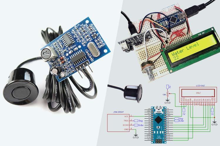 Внешний вид проекта измерения уровня воды с помощью Arduino и датчика JSN SR-40T