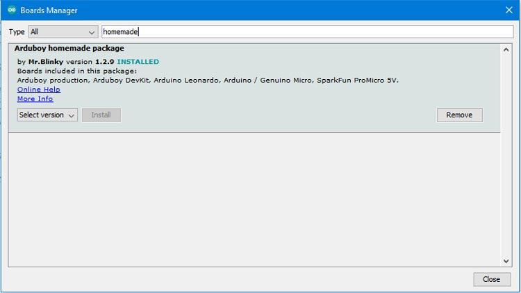 Установка пакета Arduboy в Arduino IDE