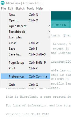 Открытие пункта меню File > Preferences в Arduino IDE