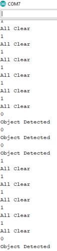 Результаты работы проекта в окне монитора последовательной связи