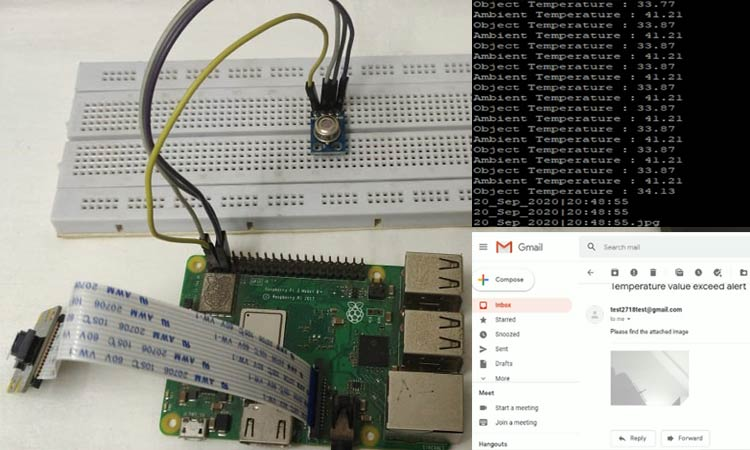 Внешний вид бесконтактного термометра на Raspberry Pi с оповещениями по Email
