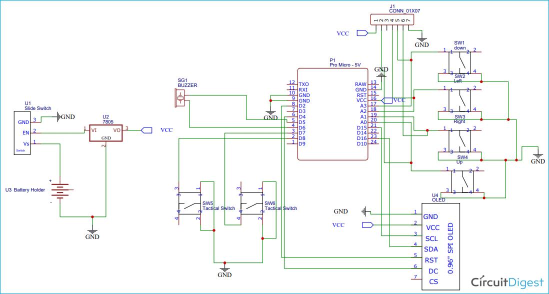 Схема портативной игровой консоли на основе платы Arduino и Arduboy