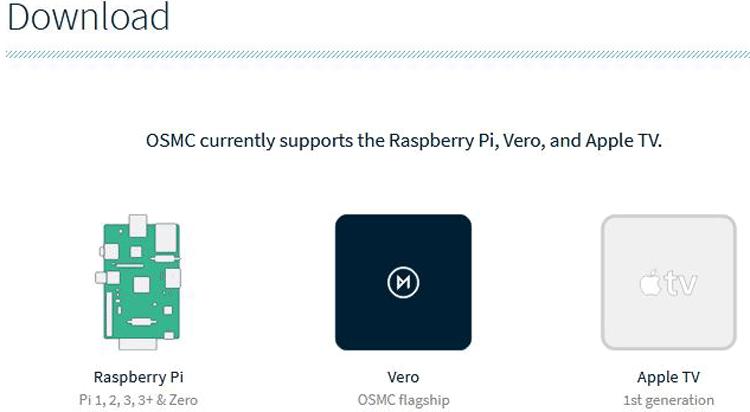 Внешний вид страницы для скачивания OSMC