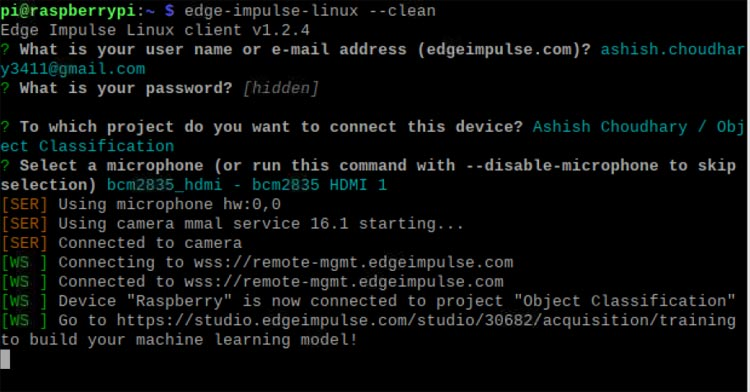 Соединение с вашим аккаунтом на Edge Impulse