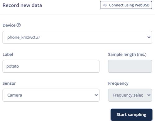 Начало процесса сбора данных в Edge Impulse
