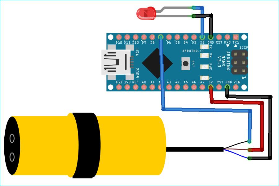 Схема подключения инфракрасного датчика препятствий E18-D80NK к плате Arduino