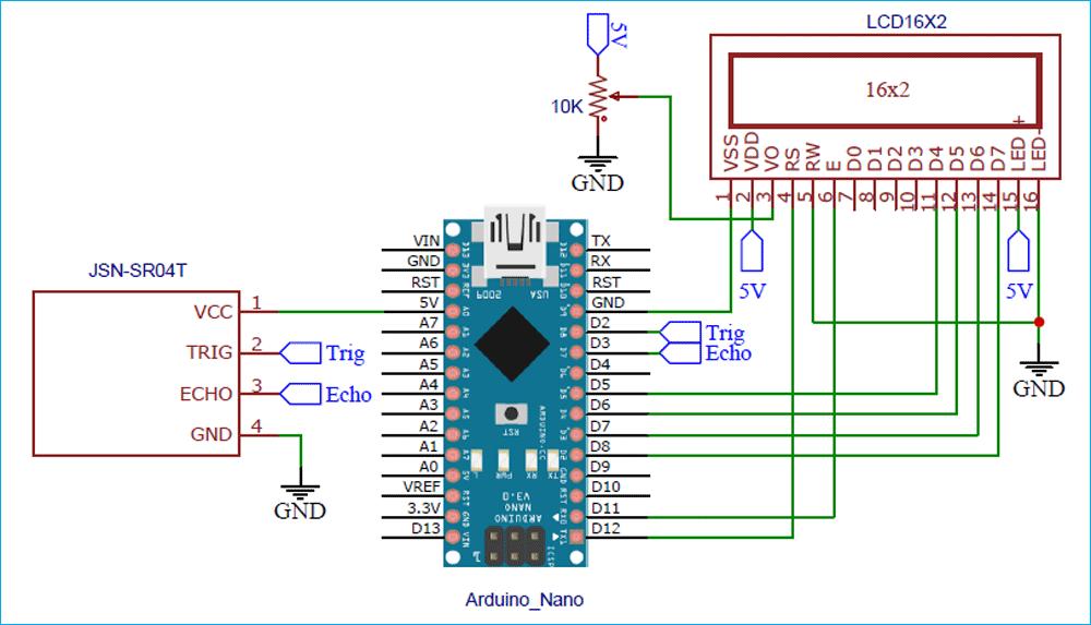 Схема подключения водонепроницаемого ультразвукового датчика JSN SR-40T к плате Arduino