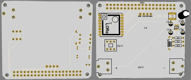 3D модель верхнего и нижнего слоя печатной платы LoRa HAT для Raspberry Pi