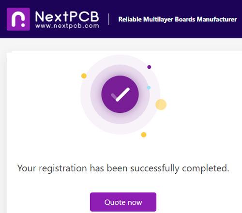 Страница завершения регистрации на сайте nextpcb.com
