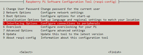 Выбор настроек подключения в панели настроек Raspberry Pi
