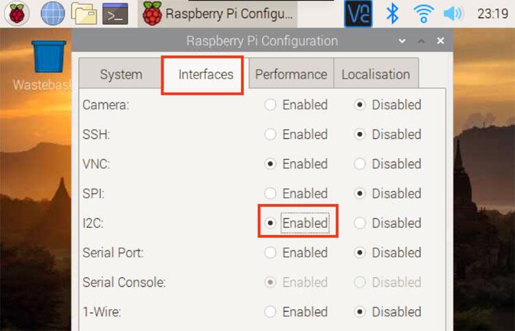 Включение использования интерфейса I2C в плате Raspberry Pi