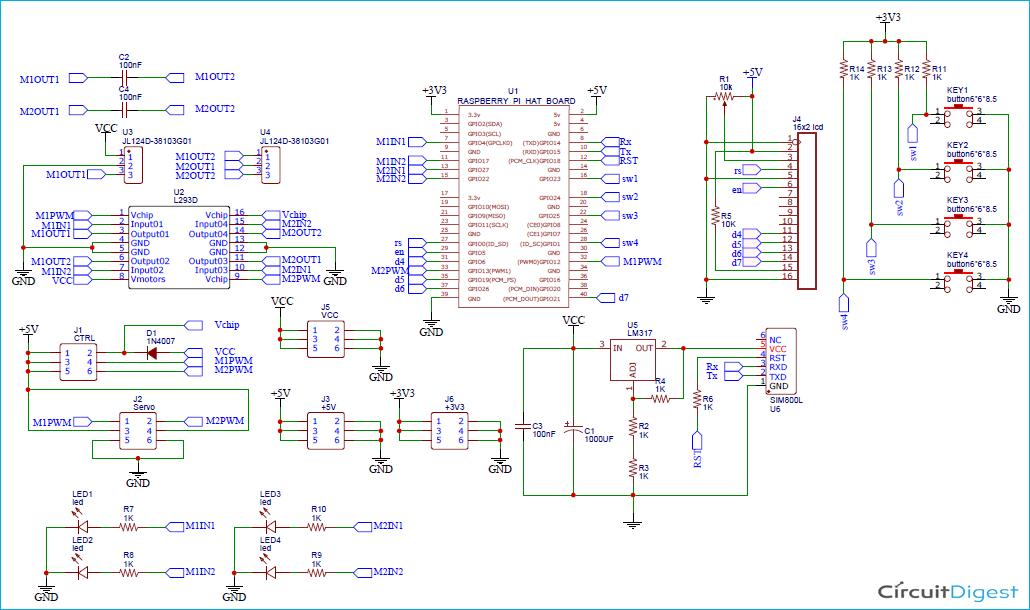 Схема платы расширения на Raspberry Pi для управления двигателями
