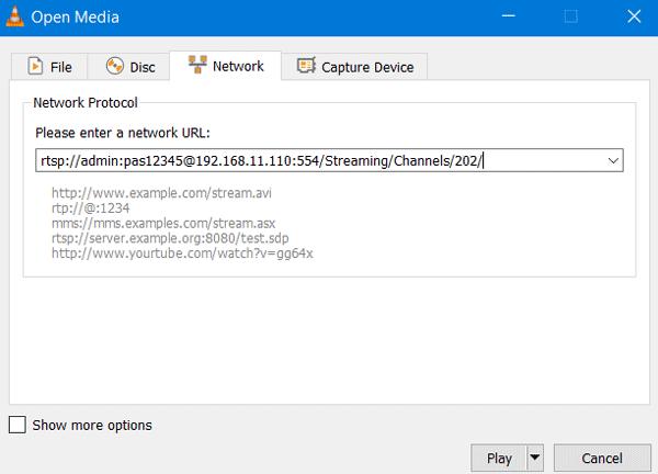 Настройка видеоплеера VLC для просмотра видеопотока с видеорегистратора