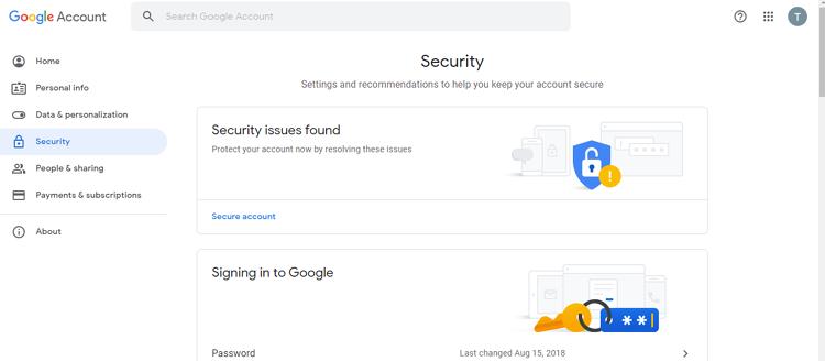 Настройки безопасности в Google аккаунте