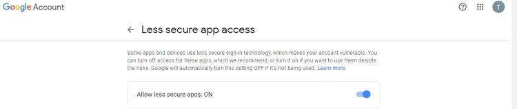 Установка пониженной безопасности Google аккаунта