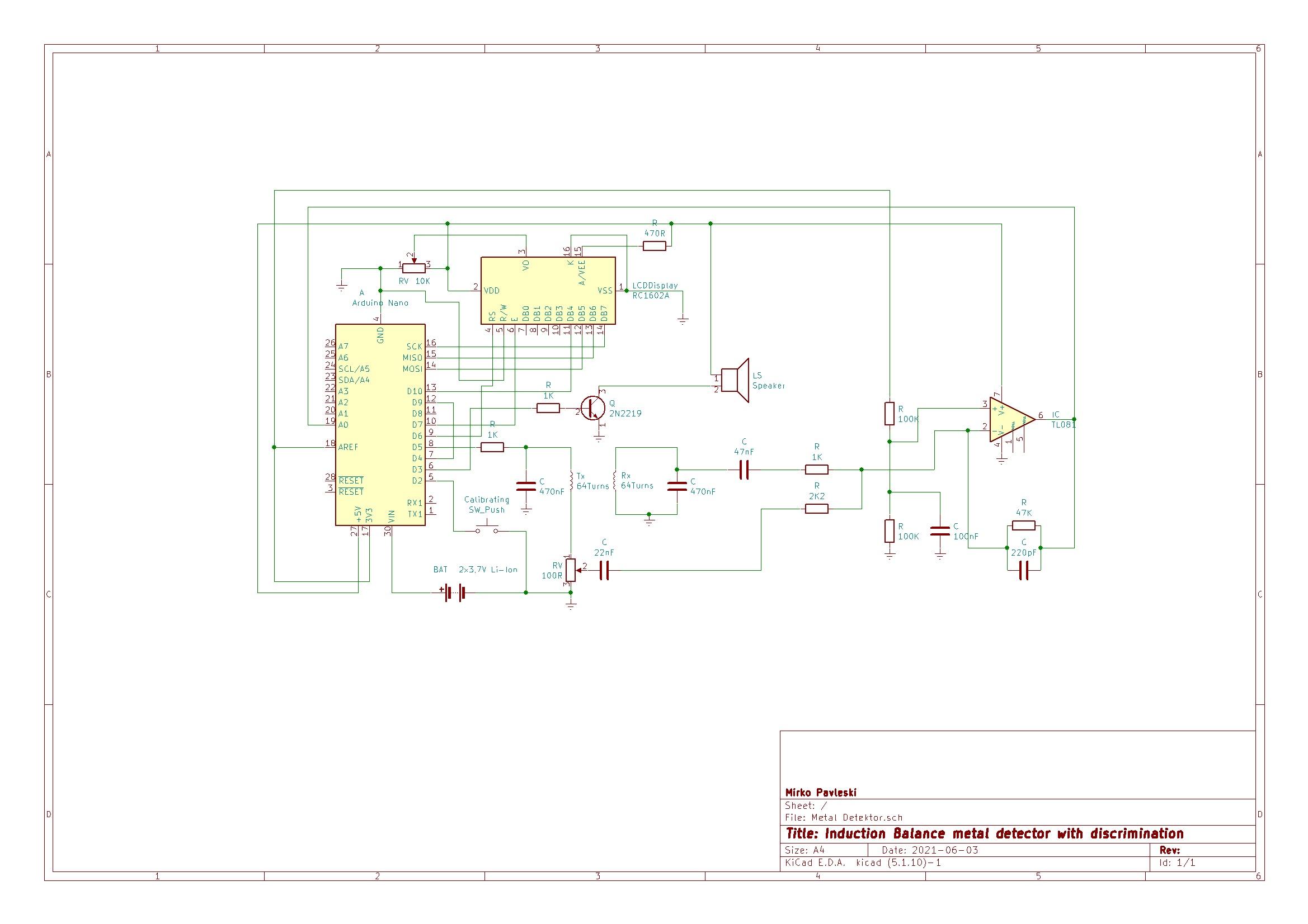 Схема металлоискателя на Arduino c дискриминацией металлов