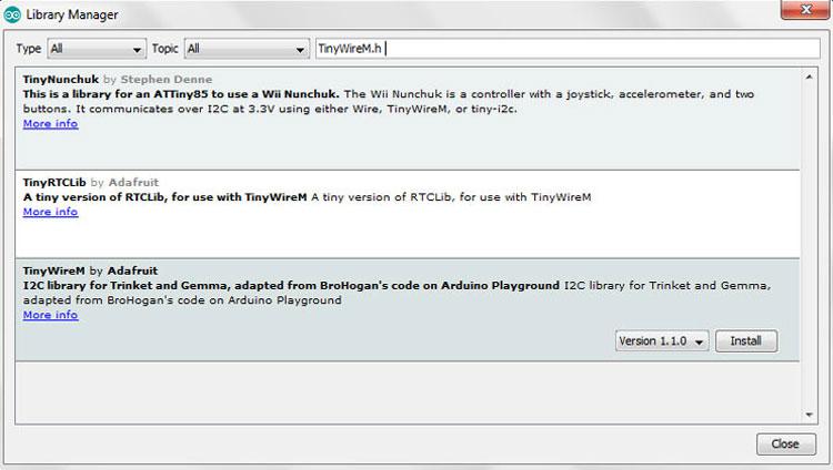 Установка библиотеки TinyWireM.h с помощью Arduino IDE