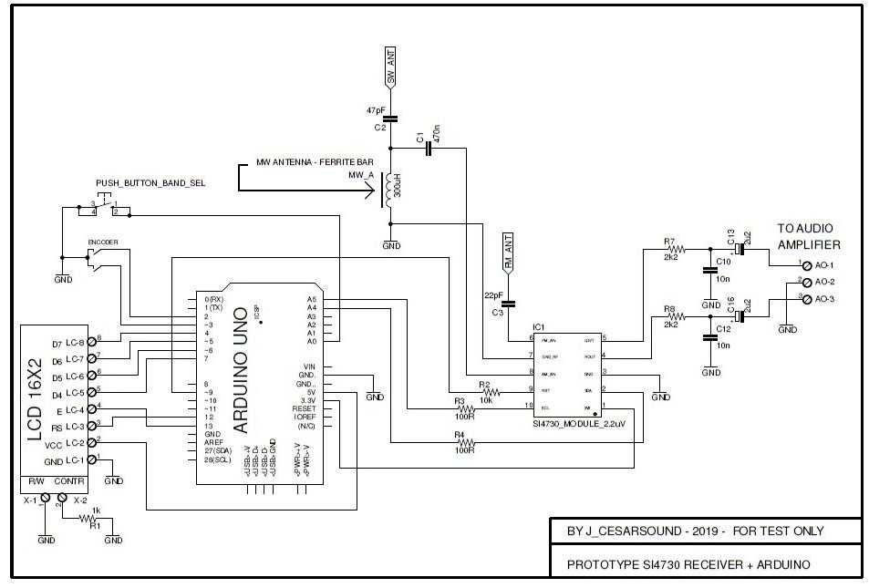 Схема всеволнового радиоприемника на Arduino и модуле Si4730