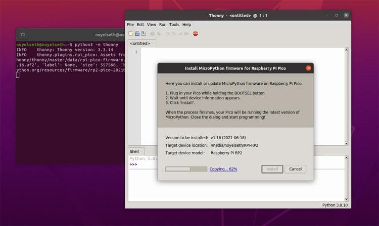 Процесс установки последней версии MicroPython в плату Raspberry Pi Pico