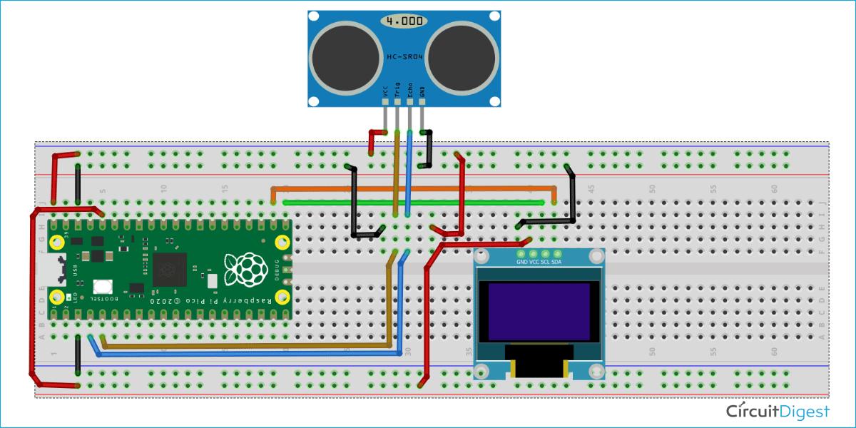 Схема подключения ультразвукового датчика и OLED дисплея к Raspberry Pi Pico