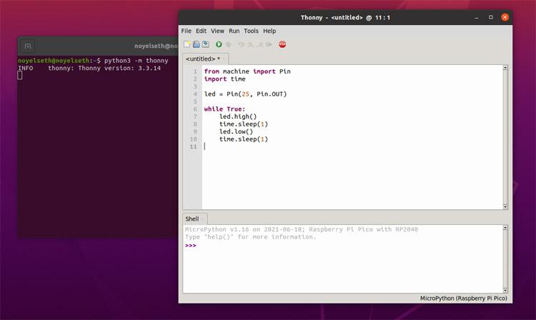 Код программы на MicroPython для мигания светодиодом