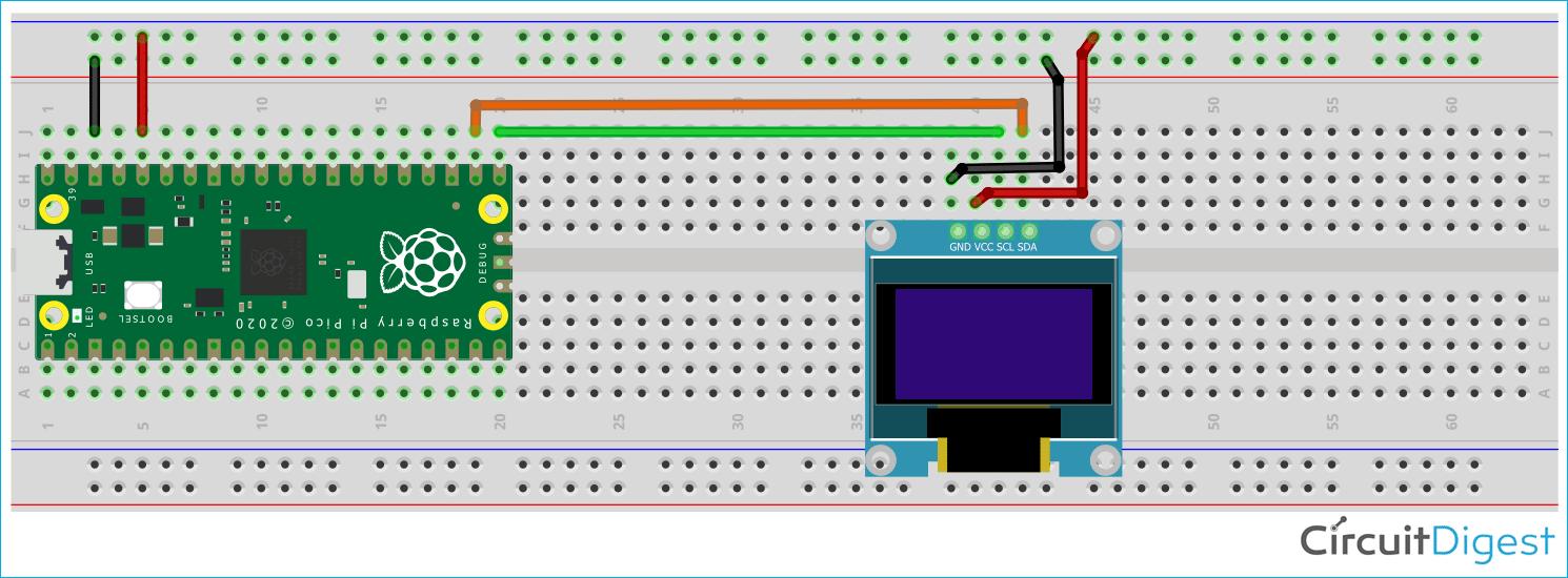 Схема подключения OLED дисплея SSD1306 к плате Raspberry Pi Pico