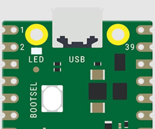 Расположение кнопки BOOTSEL на плате Raspberry Pi Pico